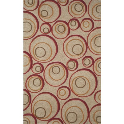 Trans-Ocean Spello Hoops Red Rug 5'x7'6