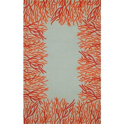 Trans-Ocean Spello Coral Bdr Orange Rug 5'x7'6