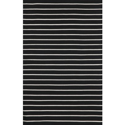 Trans-Ocean Sorrento Pinstripe Black Rug 5'x7'6
