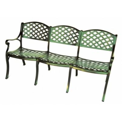 Three Coins Cast Triple Crossweave Cast Aluminum Settee  by Three Coins Cast