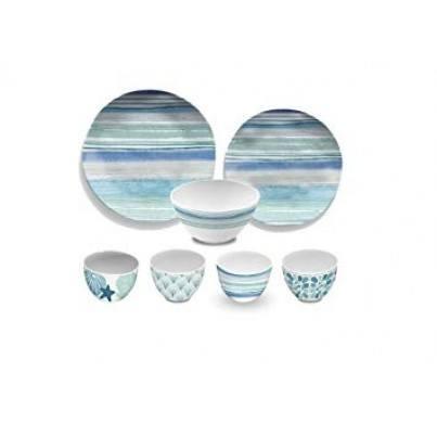 Melamine Aquatic Stripe 16 piece Dinner Set  by Frontera Furniture Company