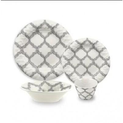 Melamine Ikat Arabesque 16 Piece Dining Set  by Frontera Furniture Company