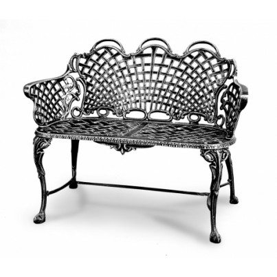 Three Coins Cast Basketweave Cast Aluminum Triple Arch Settee  by Three Coins Cast