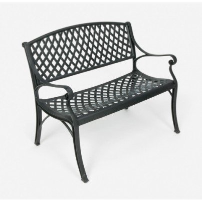 Three Coins Cast Crossweave Cast Aluminum Settee  by Three Coins Cast