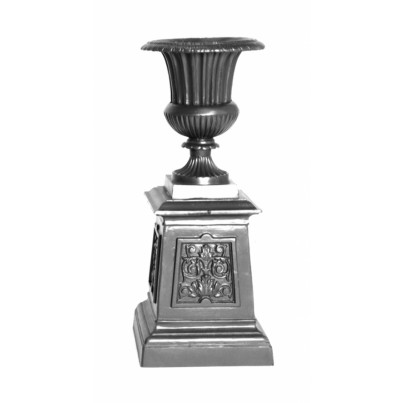 Three Coins Cast Venetian Cast Aluminum Small Urn on Victorian Base  by Three Coins Cast