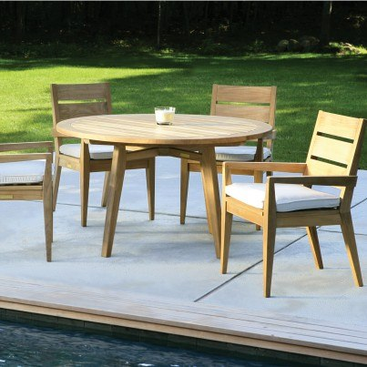 Teak Round Dining Table and Armchair