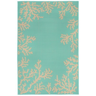 Trans-Ocean Terrace Coral Border Turquoise Rug 7'10