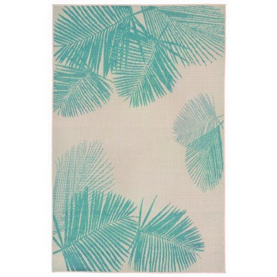 Trans-Ocean Terrace Palm Turquoise Rug 4'10