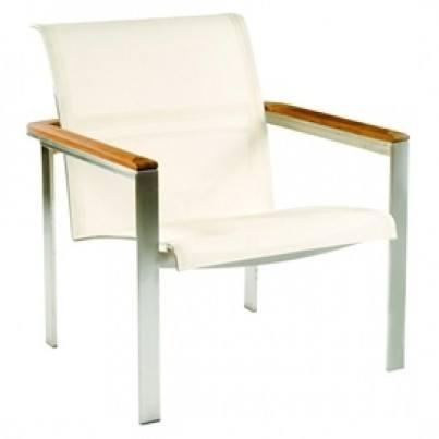 Kingsley Bate Tivoli Stainless Steel and Teak Sling Club Chair  by Kingsley Bate