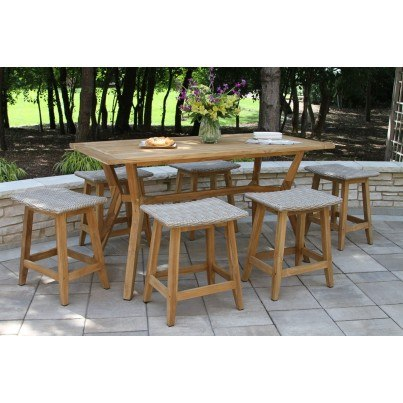 Outdoor Interiors 7 piece Nautical Teak Counter Height Dining set with Saddle Stools  by Outdoor Interiors