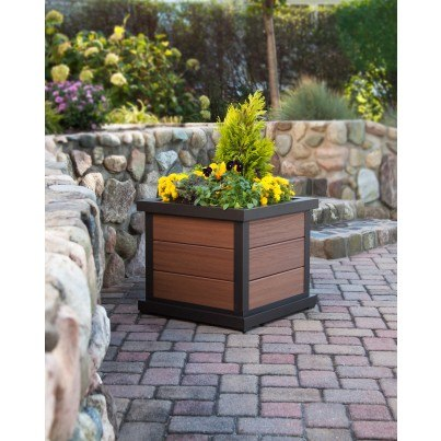 "Trex® Outdoor Furniture™ Parsons Cube 24"" Planter 3 Board  by Trex Outdoor Furniture"