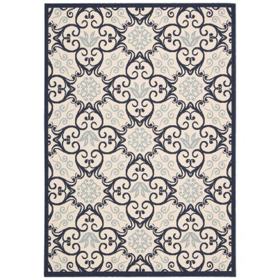 Nourison Indoor/Outdoor Caribbean Rug CRB02 - IvoryNavy 5'x7'  by Nourison
