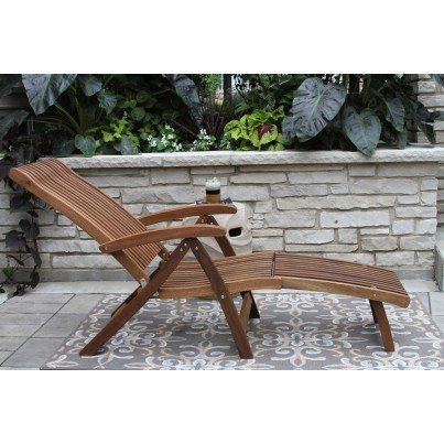 Outdoor Interiors Venetian Eucalyptus Steamer Lounger w Ottoman  by Outdoor Interiors