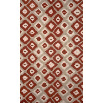 Trans-Ocean Visions II Ikat Diamonds Red 5'x8'  by TransOcean