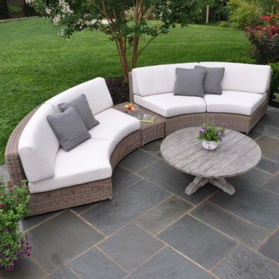 Wicker Sectional-Curved Armless Settee
