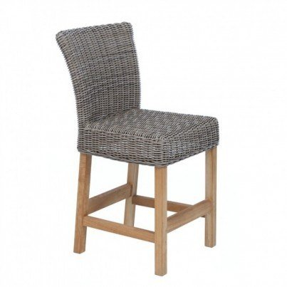 Sag Harbor Armless Wicker and Teak Counter Stool
