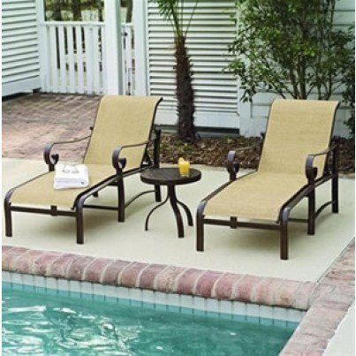 Woodard Belden Aluminum Sling Adjustable Chaise Lounge  by Woodard