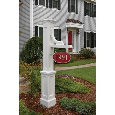 Mayne Woodhaven Address Sign Post - Black,White,Clay  by Mayne