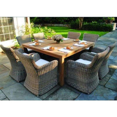 Wicker and Teak Dining Ensemble