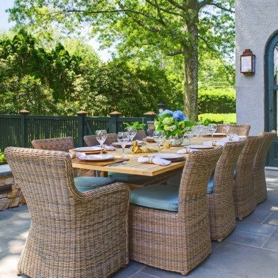 Wicker Dining Chairs and Teak Dining Table