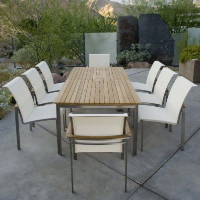 Kingsley Bate Tivoli 9 Piece Stainless Steel and Teak Dining Ensemble