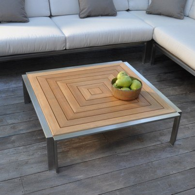 "Kingsley Bate Tivoli Stainless Steel and Teak 40"" Coffee Table"