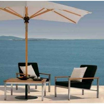 """Barlow Tyrie Equinox Stainless Steel and Teak 39"""" Square Conversation Table"""