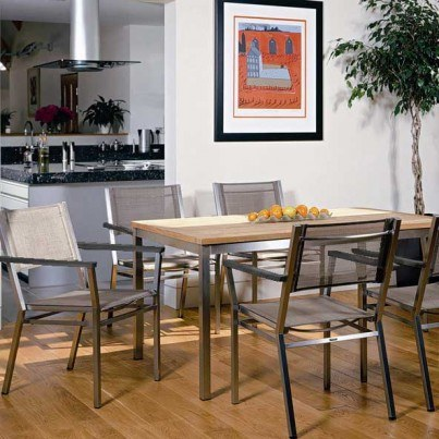 """Barlow Tyrie Equinox Stainless Steel and Teak 59""""L Rectangular Dining Table"""
