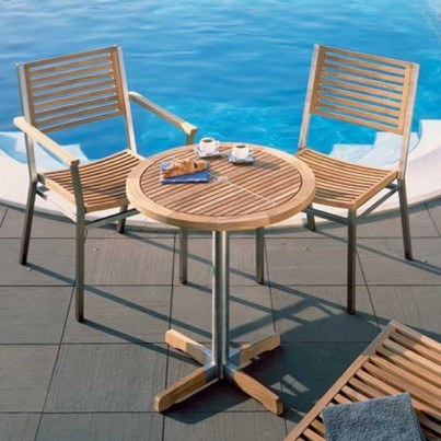 Barlow Tyrie Equinox Round Stainless Steel and Teak Bistro Table