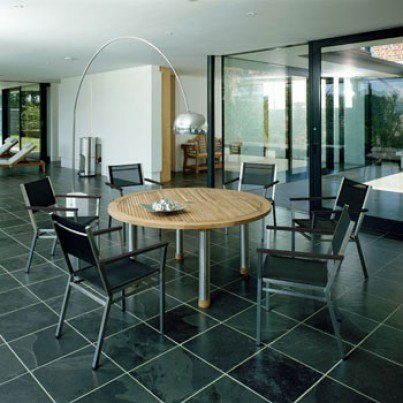 """Barlow Tyrie Equinox Stainless Steel and Teak 59"""" Round Dining Table"""