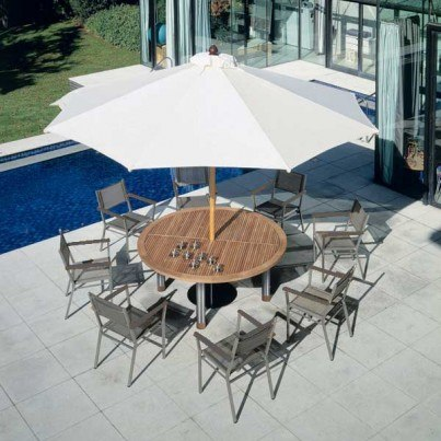 """Barlow Tyrie Equinox Stainless Steel and Teak 71"""" Round Dining Table"""