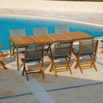 Barlow Tyrie Equinox Stainless Steel and Teak Rectangular Extending Dining Table