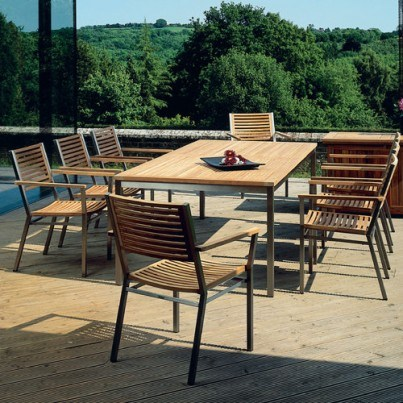 "Barlow Tyrie Equinox Stainless Steel and Teak 85""L Retangular Dining Table"