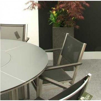 """Barlow Tyrie Equinox Stainless Steel and Laminate 59"""" Round Dining Table with Lazy Susan"""