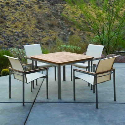 "Kingsley Bate Tivoli Stainless Steel and Teak 42"" Square Dining Table"