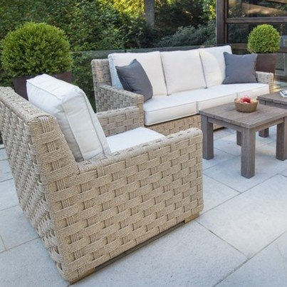 Kingsley Bate St. Barts Wicker and Tuscany Teak 5 Piece Deep Seating Ensemble with Sofa