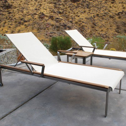 Kingsley Bate Tivoli 3 Piece Stainless Steel and Teak Chaise Lounge Ensemble