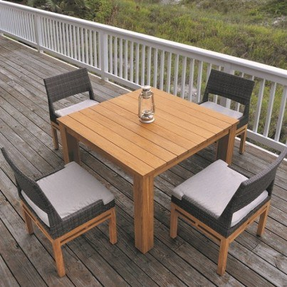 Kingsley Bate Azores Wicker and Mendocino Teak 5 Piece Dining Ensemble