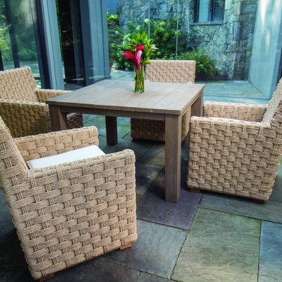 Kingsley Bate St. Barts Wicker and Tuscany Teak 5 Piece Dining Ensemble
