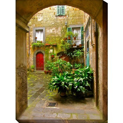 West of the Wind Outdoor Canvas Wall Art - Italian Courtyard