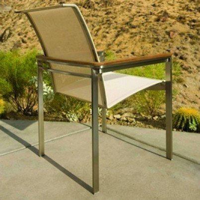 Kingsley Bate Tivoli  Stainless Steel and Teak Sling Dining Armchair (Stacking)