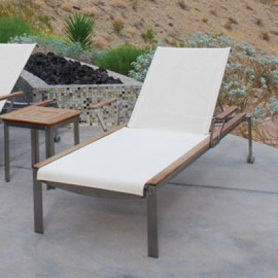 Kingsley Bate Tivoli Stainless Steel and Teak Sling Chaise Lounge