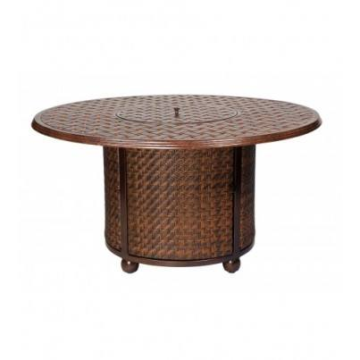Woodard North Shore Wicker Fire Table Base with Round Thatch Top