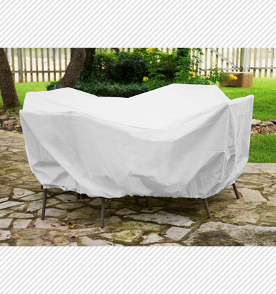 Round Table Dining Set Cover White Product Photo