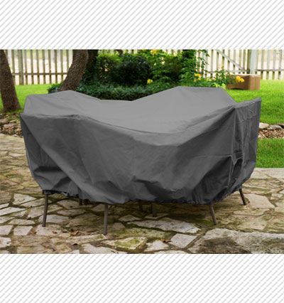 Round Table Dining Set Cover Charcoal Product Photo
