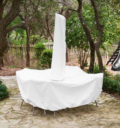 Dining Set Round Cover Umbrella White Product Photo