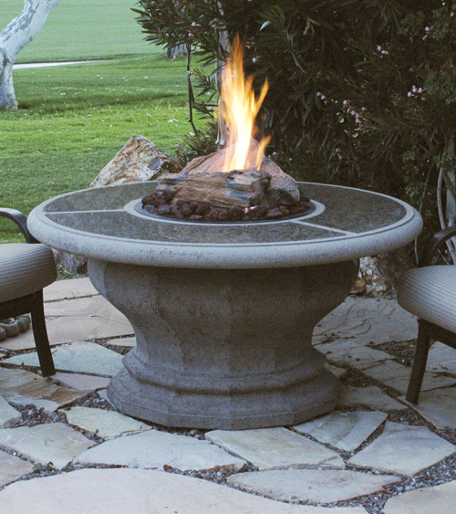 Inverted Round Fire Pit Table Granite Inset Product Photo