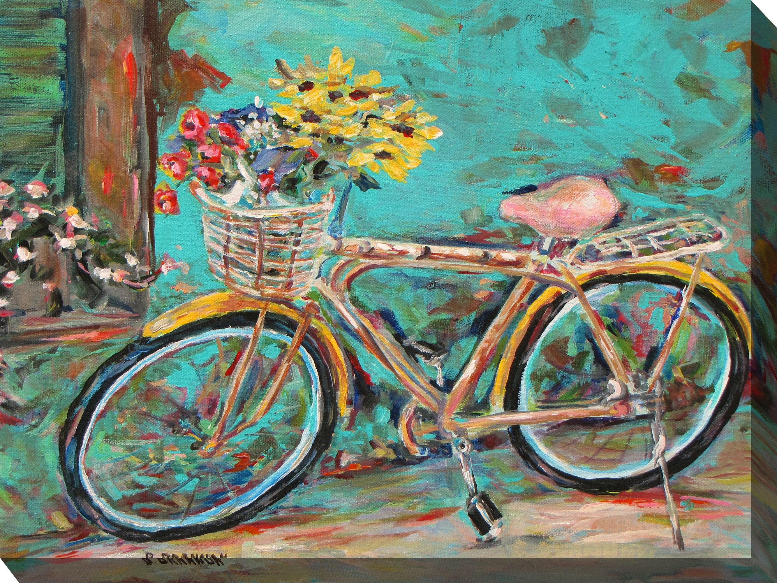 Canvas Wall Art Teal Bicycle Product Photo