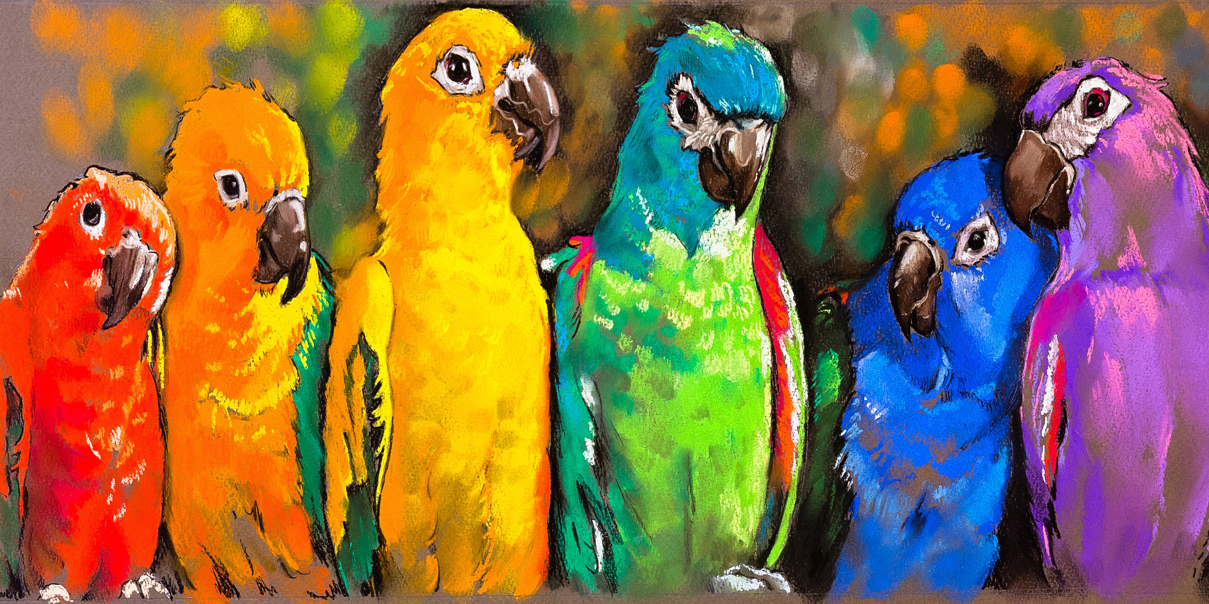 Canvas Wall Art Pretty Parrots Product Photo