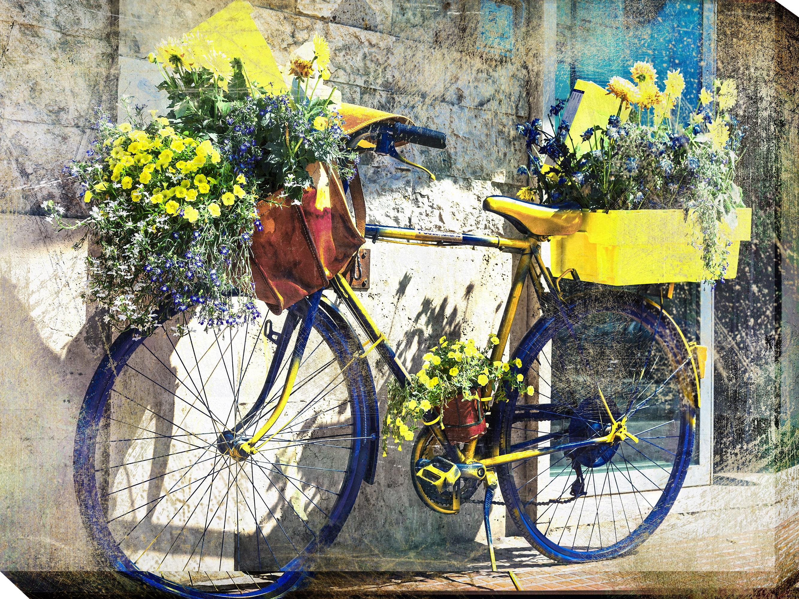 Canvas Wall Art Blue Yellow Bike Product Photo